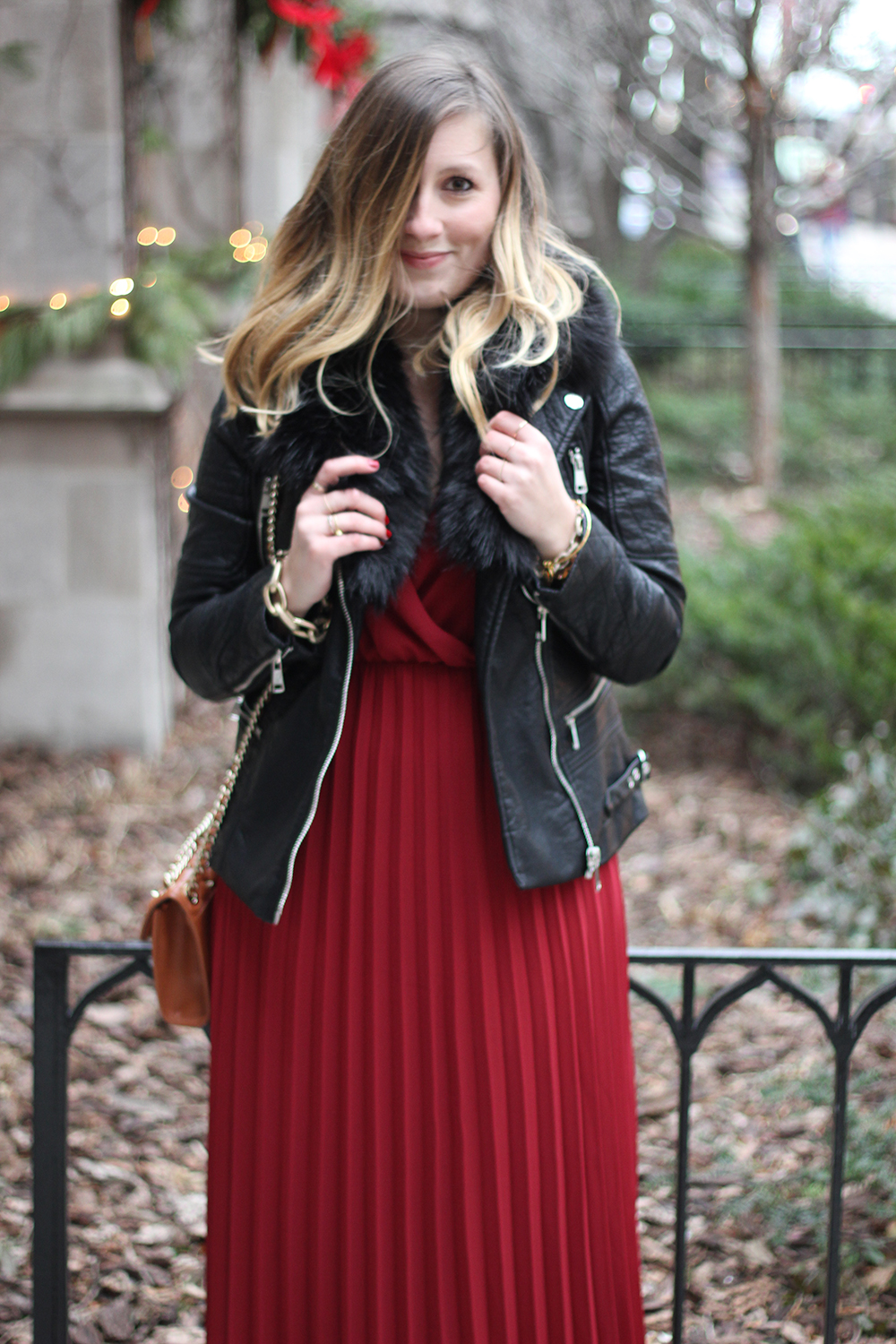 red-pleated-maxi-dress-leather-jacket-faux-fur-2