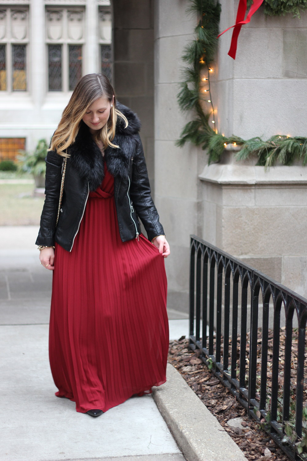 red-pleated-maxi-dress-leather-jacket-faux-fur-5