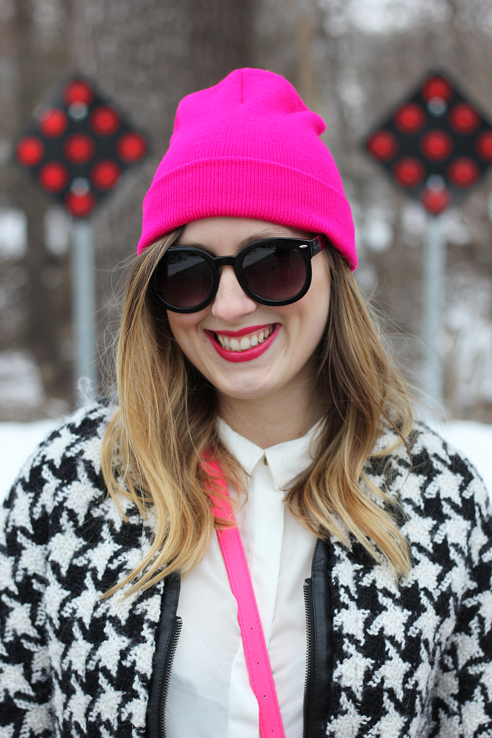 hot-pink-beanie-houndstooth-jacket-1